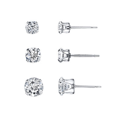 Silver Treasures 3-pc. White Earring Sets