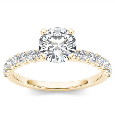 Womens 1 CT. T.W. Round White Diamond 14K Gold Engagement Ring