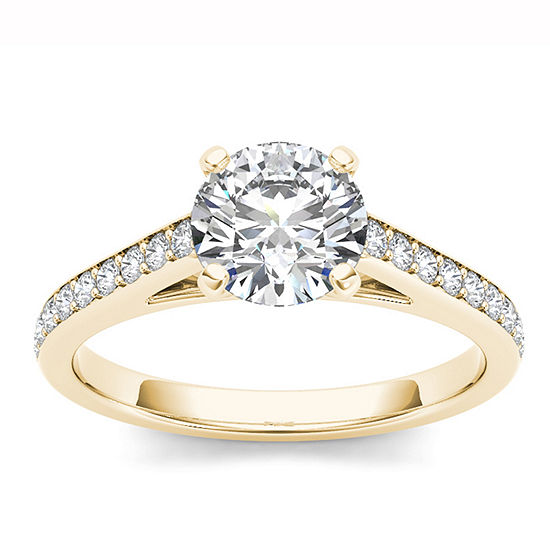Womens 1 Ct Tw Genuine White Diamond 14k Gold Engagement Ring