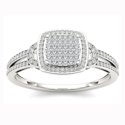Womens 1/5 CT. T.W. Round White Diamond 10K Gold Engagement Ring