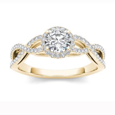 Womens 3/4 CT. T.W. Round White Diamond 14K Gold Engagement Ring