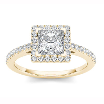 Womens 1 1/4 CT. T.W. Princess White Diamond 14K Gold Engagement Ring