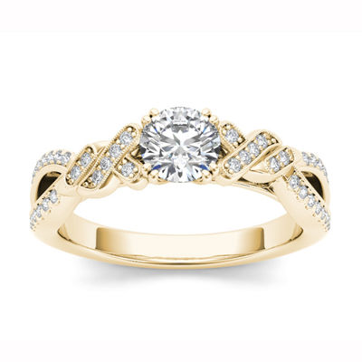Womens 3/4 CT. T.W. Round White Diamond 14K Gold Engagement Ring