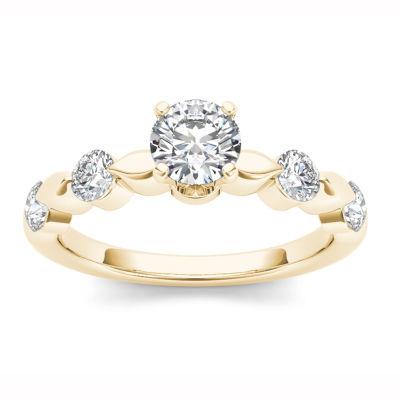 Womens Genuine Round White Diamond 14K Gold Engagement Ring