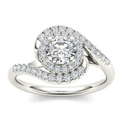 Womens 1 CT. T.W. Genuine Round White Diamond 14K Gold Engagement Ring