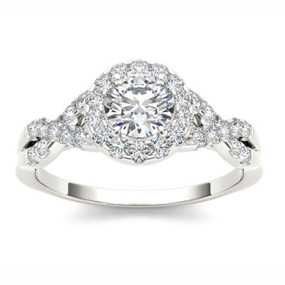 14K White Gold 1 CT Round White Diamond Ring