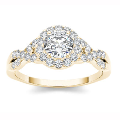 14K Yellow Gold 1 CT Round White Diamond Ring