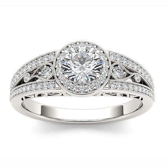 Womens 1 CT. T.W. Genuine White Diamond 14K Gold Halo Engagement Ring