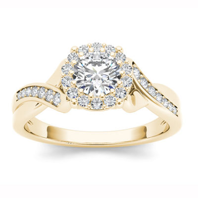 Womens 1 CT. T.W. Genuine White Diamond 14K Gold Halo Engagement Ring