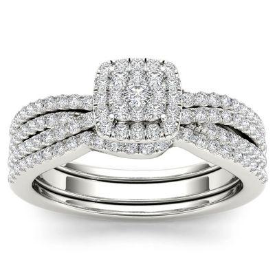 3/4 CT. T.W. White Diamond 10K Gold Bridal Set