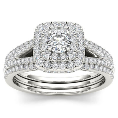 1 CT. T.W. White Diamond 10K Gold Bridal Set