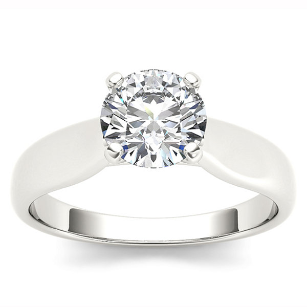 Womens 3/4 CT. T.W. Round White Diamond 14K Gold Solitaire Ring