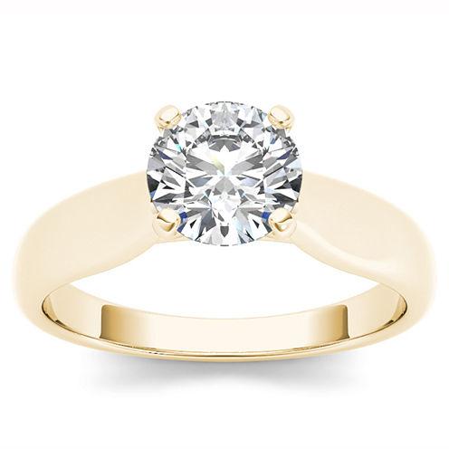 Womens 3/4 CT. T.W. Genuine Round White Diamond 14K Gold Solitaire Ring