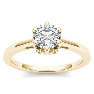 Womens 1 CT. T.W. Genuine Round White Diamond 14K Gold Solitaire Ring