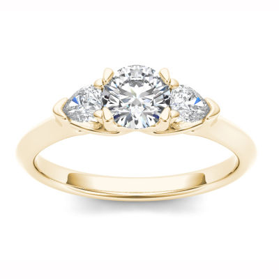 Womens 1 CT. T.W. Genuine White Diamond 14K Gold 3-Stone Ring