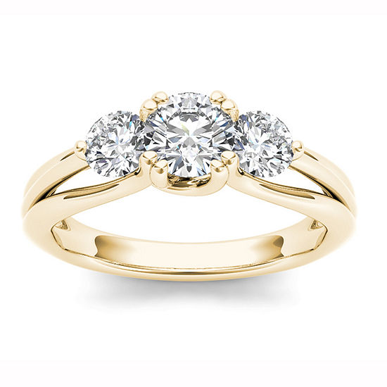 Womens 1 CT. T.W. Genuine White Diamond 14K Gold 3-Stone Engagement Ring