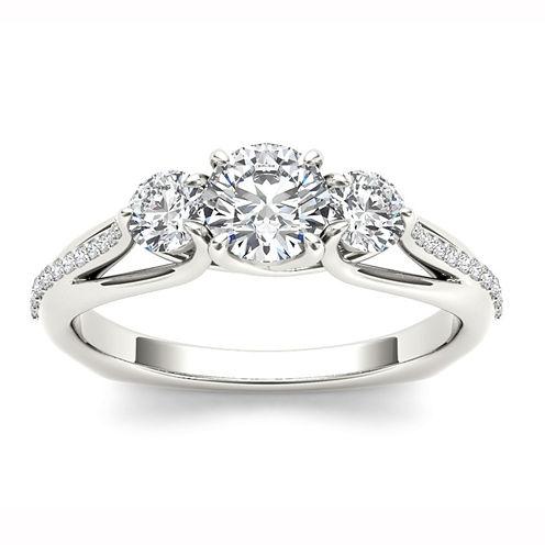 Womens 1 1/2 CT. T.W. Genuine Round White Diamond 14K Gold 3-Stone Ring