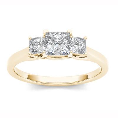 Womens 1 CT. T.W. Princess White Diamond 14K Gold 3-Stone Ring