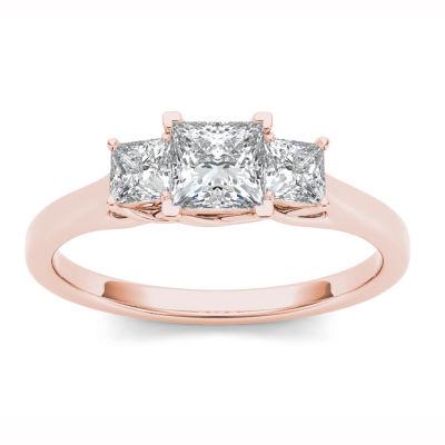 Womens 1 CT. T.W. Genuine White Diamond 14K Gold 3-Stone Ring