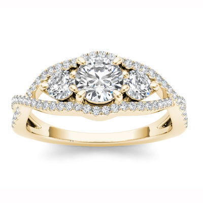 Womens 1 CT. T.W. Round White Diamond 14K Gold 3-Stone Ring
