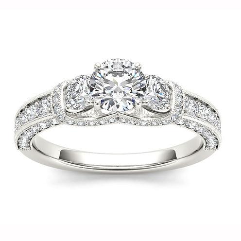 Womens 1 1/5 CT. T.W. Genuine Round White Diamond 14K Gold 3-Stone Ring