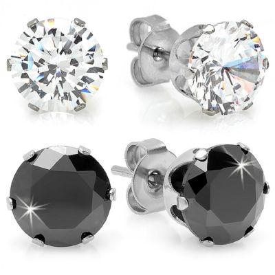 Steeltime Black Cubic Zirconia Stainless Steel 6mm Stud Earrings