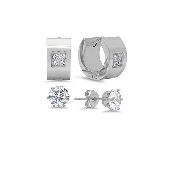 Steeltime White Cubic Zirconia Stainless Steel Stud Earrings