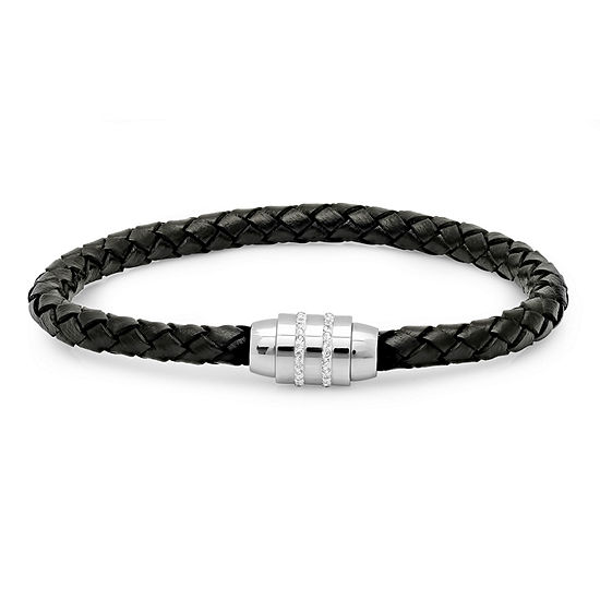 Mens White Cubic Zirconia Stainless Steel Wrap Bracelet