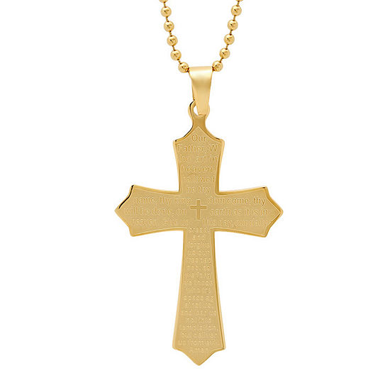 Steeltime Mens 18k Gold Stainless Steel Cross Pendant Necklace