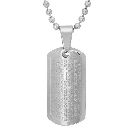 Steeltime Lord'S Prayer Mens Stainless Steel Pendant Necklace