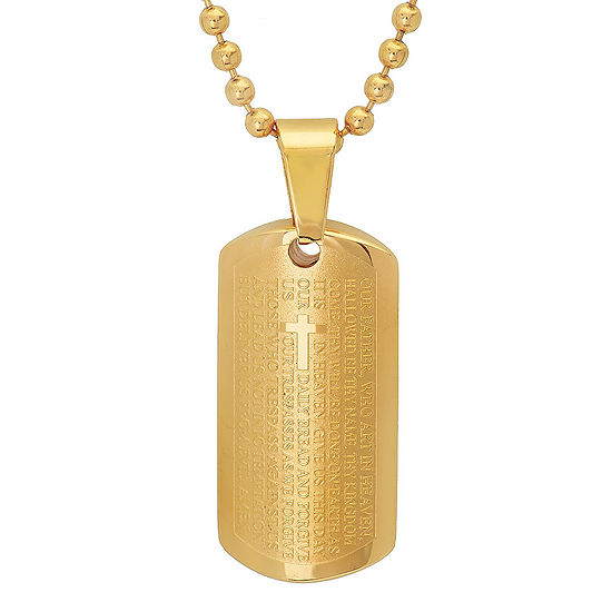 Steeltime Lord'S Prayer Mens 18K Gold Stainless Steel Pendant Necklace