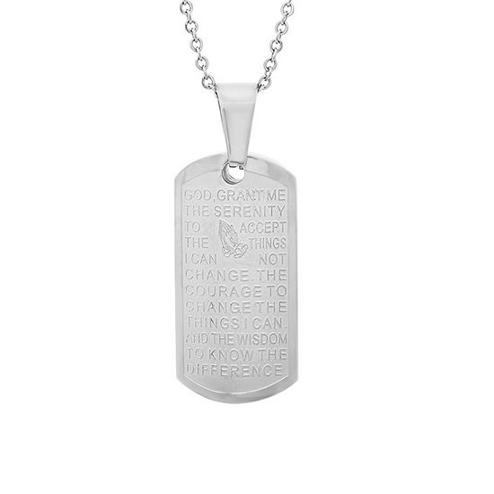 Steeltime Serenity Prayer Mens Stainless Steel Pendant Necklace