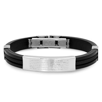 Mens Stainless Steel Lords Prayer in Spanish Id Bracelet