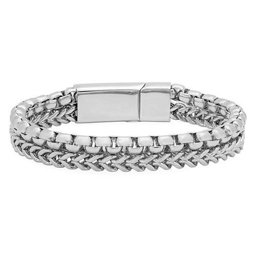 Cubic Zirconia Stainless Steel Chain Bracelet