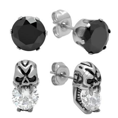 Steeltime Round Black Cubic Zirconia Stud Earrings