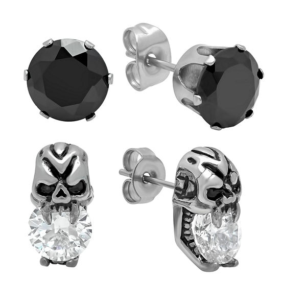 Steeltime Black Cubic Zirconia Stainless Steel Stud Earrings
