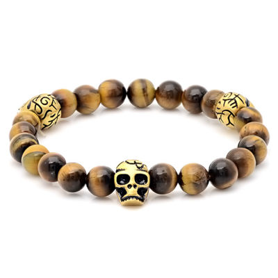 Multi Color Tiger's Eye 18K Gold Stainless Steel Beaded Bracelet