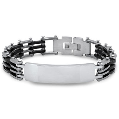 Steeltime Stainless Steel 8 Inch Solid Link Id Bracelet