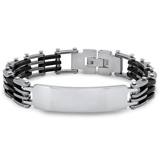 Steeltime Stainless Steel 8 Inch Solid Link Id Bracelet