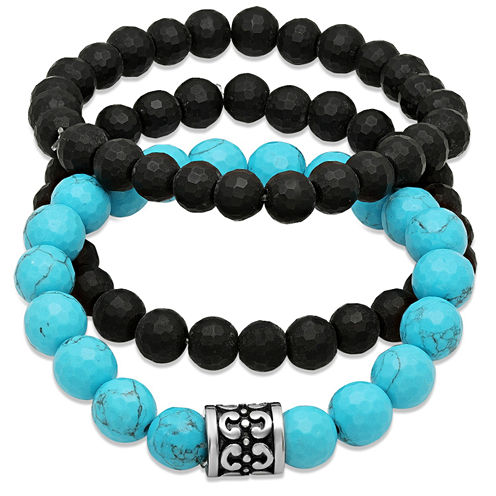 Mens Black Lava and Simulated Turquoise Beaded Stainless Steel Beaded Bracelets Set of 3