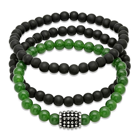 Mens Black Lava & Genuine Agate Beaded Stainless Steel Bracelet Set of 3