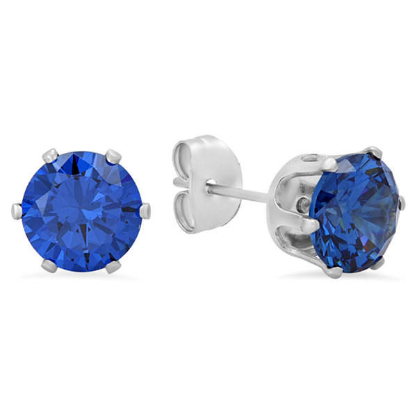 Steeltime Round Blue Cubic Zirconia Stud Earrings