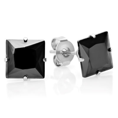 Steeltime Black Cubic Zirconia Stainless Steel 8mm Stud Earrings