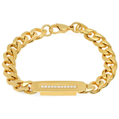 Mens White Cubic Zirconia 18K Stainless Steel Id Bracelet