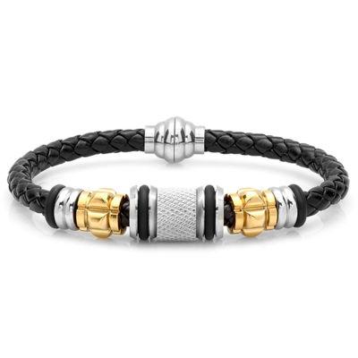 Steeltime Mens 18K Stainless Steel Wrap Bracelet