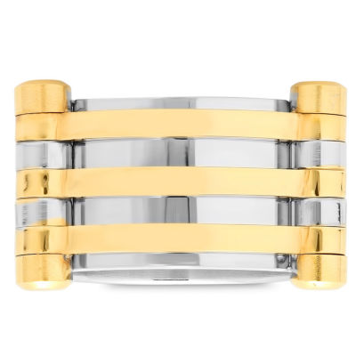 Steeltime Mens 12 Mm 18K Gold Stainless Steel Band