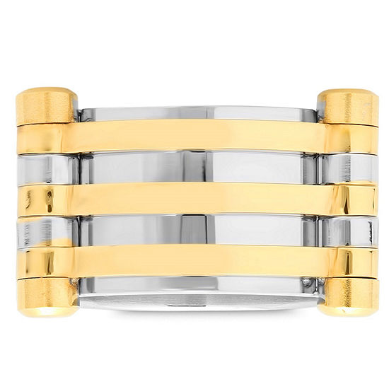 Steeltime Mens 12 Mm 18K Gold Over Stainless Steel Stainless Steel Band