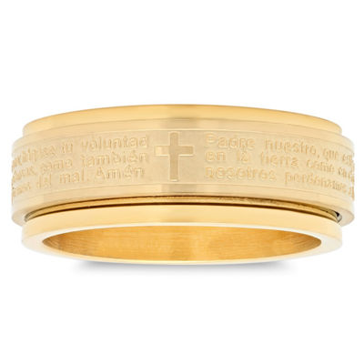 Mens 6mm 18K Gold Stainless Steel Band