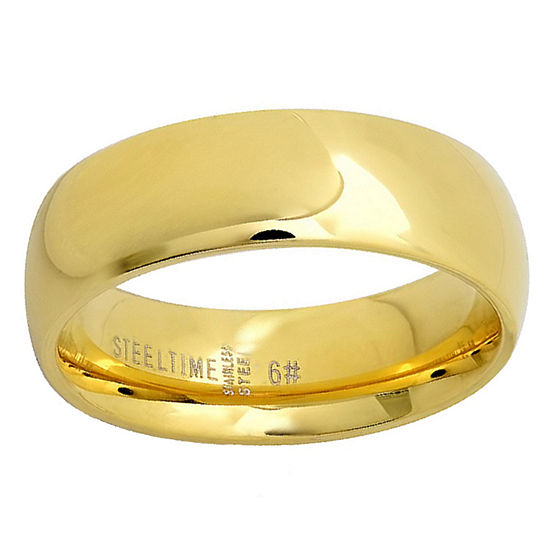 Steeltime Mens 6MM 18K Gold Over Stainless Steel Stainless Steel Band