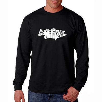 Los Angeles Pop Art Long Sleeve Gone Fishing WordArt T-Shirt